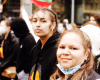 Two young Indigenous girls protest at Black Live Matters in Perth.