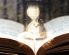 A book opens and a golden light springs forth, revealing an hourglass symbolising the passage of time.