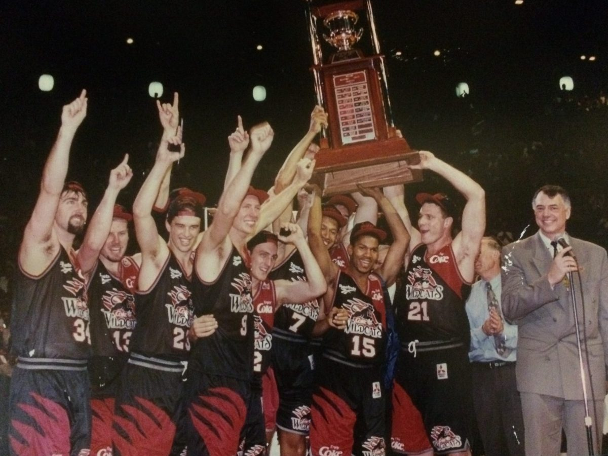 Perth Wildcats celebrating their 1995 Championship win.