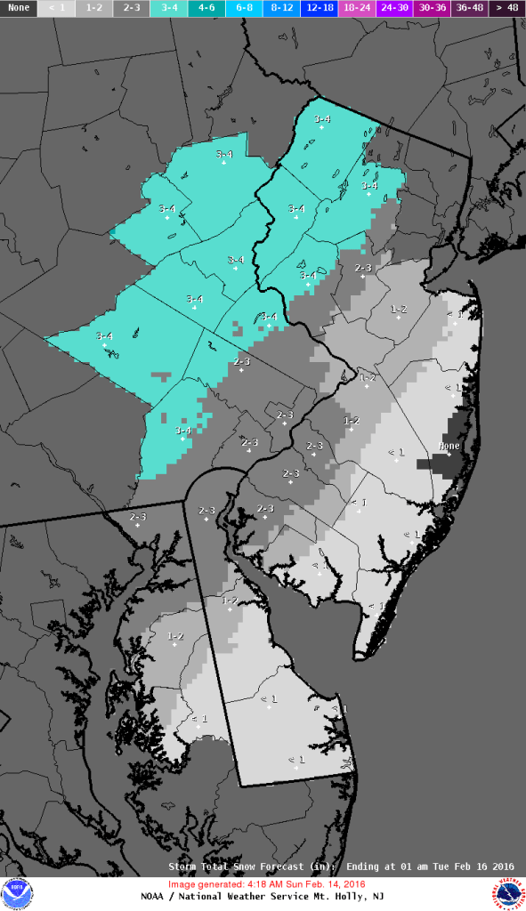 "NWS ""most likely"" snow forecast for Monday into Monday night before changeover to ice and rain on Tuesday"
