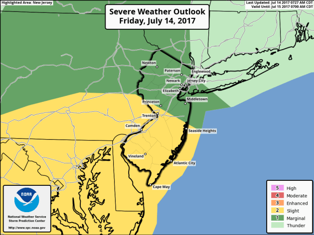 Severe weather threat stays south of western New Jersey on Friday