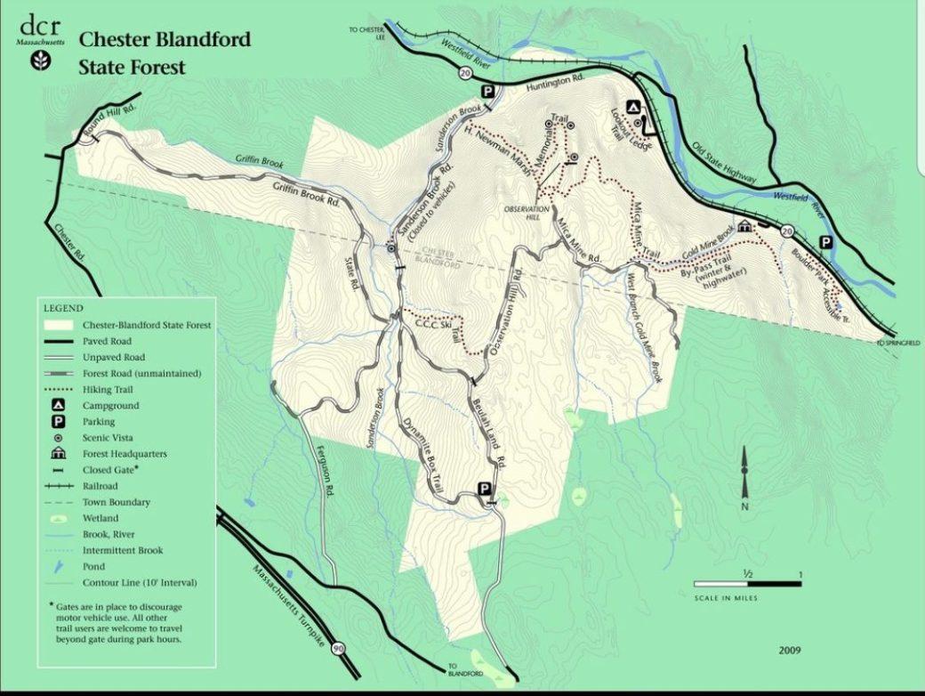 Chester Blandford State Forest with Newman Marsh, Goldmine Brook, Boulder Park DCR