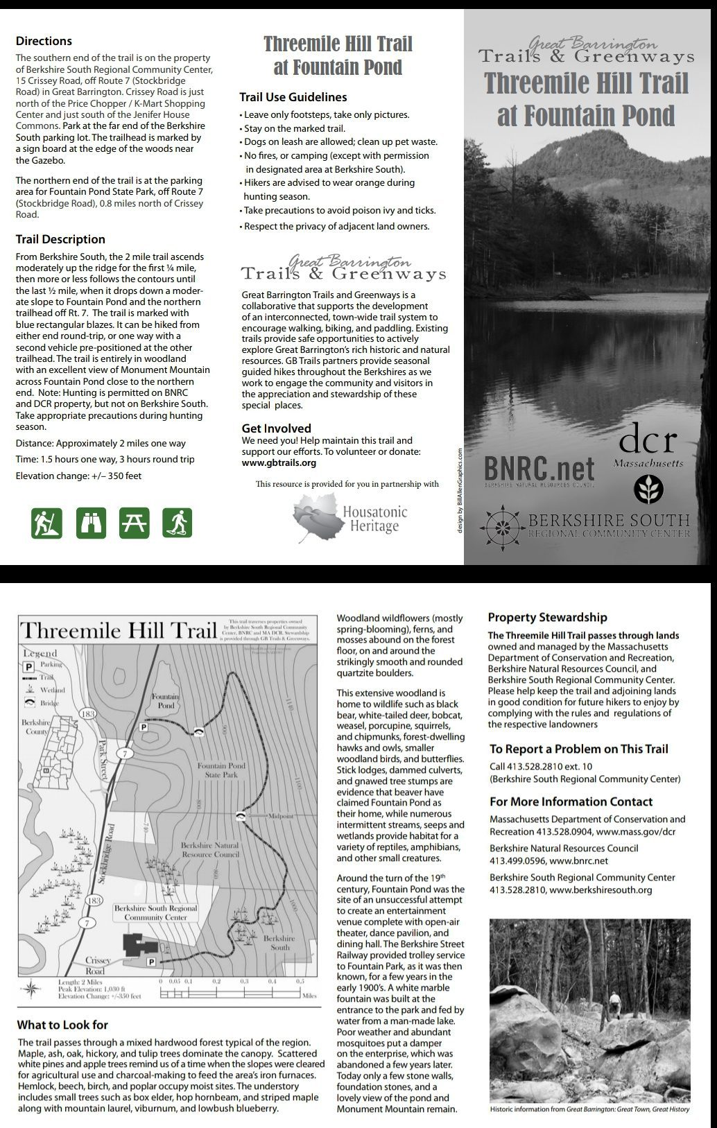 Great Barrington Three Mile Hill Trail Brochure