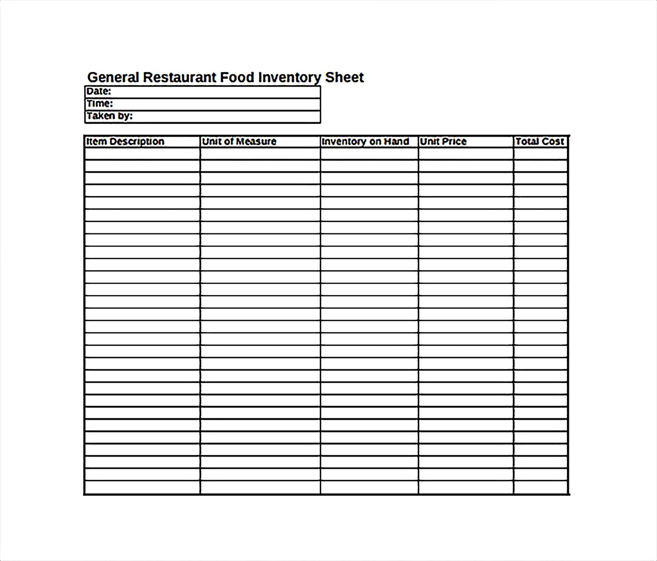Sample Inventory Spreadsheet Templates