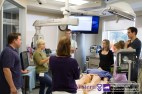 Emergency Medicine resident Kate Hayman guides participants through debriefing portion of Simulation station