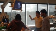Dr. Chris Lee, emergency medicine resident, engaging his learners in lung ultrasound technique.