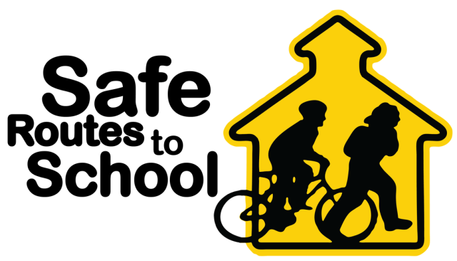 Logo, Safe Routes to School Program.Silhouette of one child walking and one child riding back