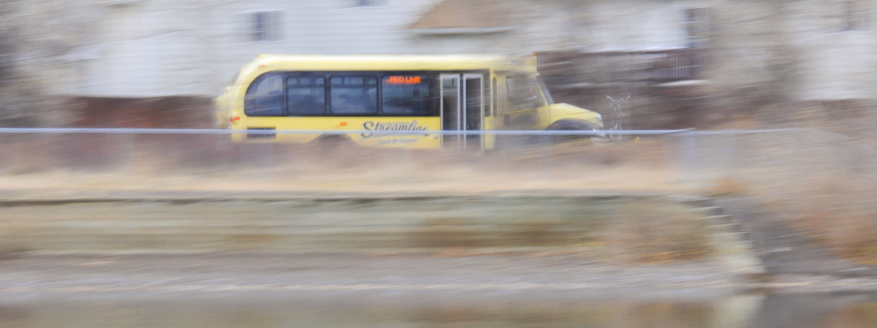 Streamline bus in Bozeman, MT. Motion blur image by Bozeman ponds