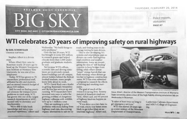 WTI 20 year anniversary article in Bozeman Daily Chronicle
