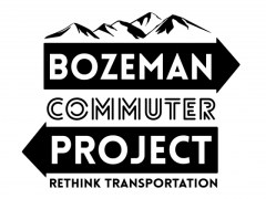 "Logo for Bozeman Commuter Project with sub text ""Rethink Transportation"" Text overlays on arrows pointing in opposite directions, imply directions of commute. Background graphic of mountains."
