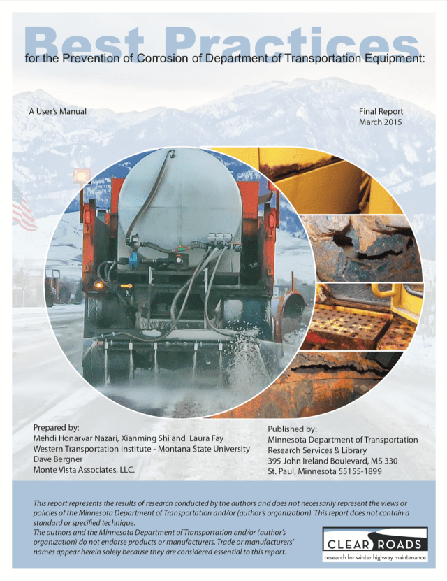 Best Practices Cover with image of deice fluid being applied and rust on snowplow equipment. Best Practices for prevention of corrosion in deice operations.