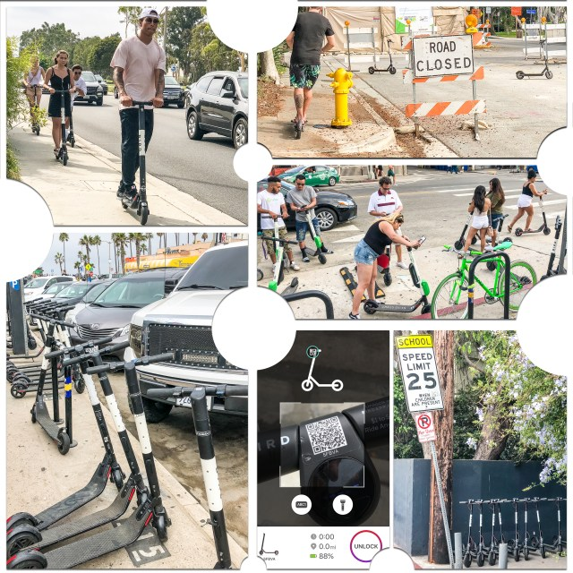 Collection of images of the public using the Popular dockless electric scooters in use around Los Angeles.
