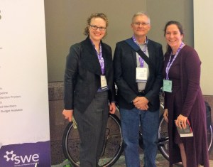 Sara Dunlap (MnDOT), Dorian Grilley (BikeMN), and Natalie Villwock-Witte at the Society of Women Engineers Conference