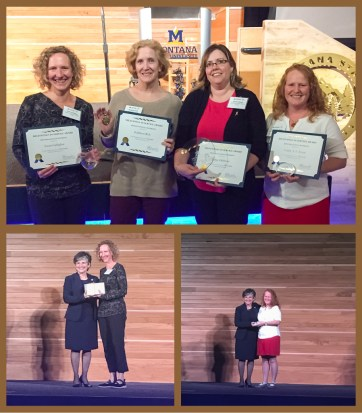 Photo of WTI staff members receiving service awards at Montana State University ceremony