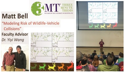 Collage of photos showing Matt Bell making presentation on wildlife collision models before an audience