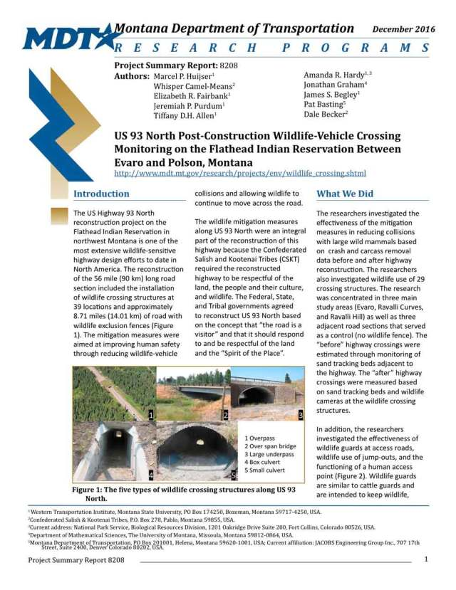 Report cover, wildlife crossing monitoring US93, Montana