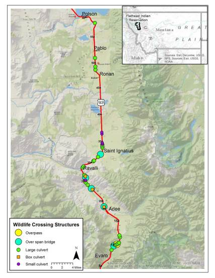 wildlife crossing structures map
