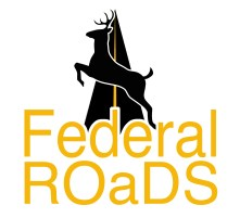 Project logo with graphic image of deer leaping across highway and title Federal ROaDS