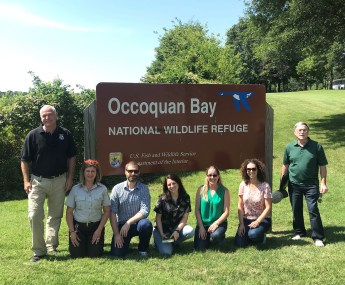 Group photos of attendees at Occoquan Bay National Wildlife Refuge attending 2019 Fellows orientation