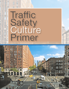 Cover image of Traffic Safety Culture Primer report with title and image of a downtown street