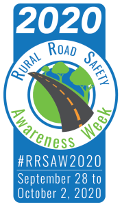 Graphic with logo and dates for Rural Road Safety Awareness Week 2020