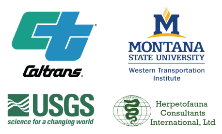 Graphic logos for Caltrans, Western Transportation Institute, USGS and Herpetofauna Consultants International, who are partners in the best practices guide for amphibian reptile road crossings.