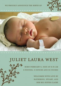 Baby announcement for Juliet Laura West