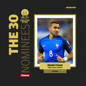 Dimitri Payet named in list of nominees for 2016 Ballon D'Or