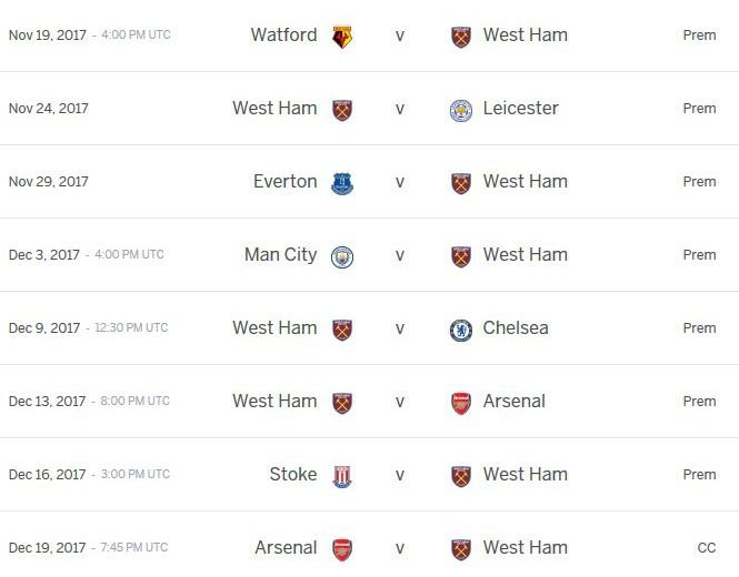 Moyes Fixtures