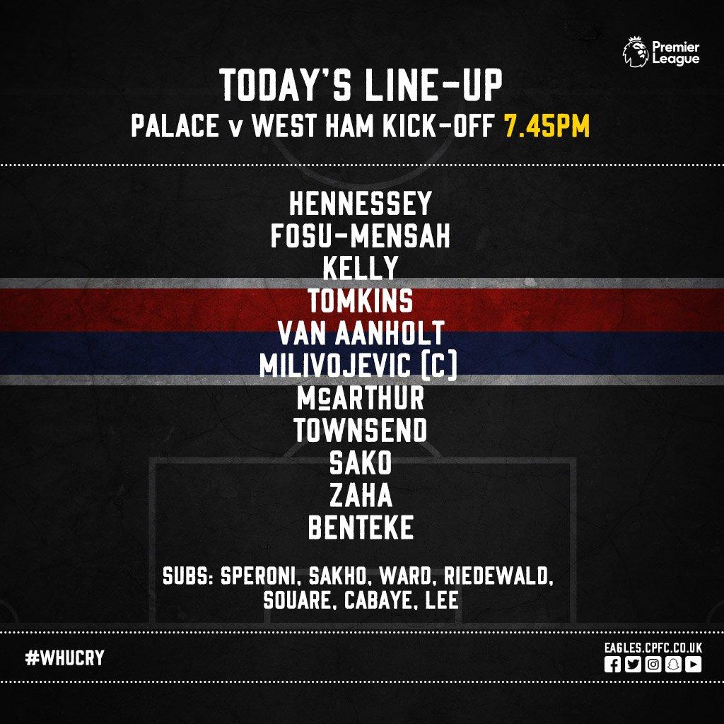 Crystal Palace starting XI v West Ham 2018