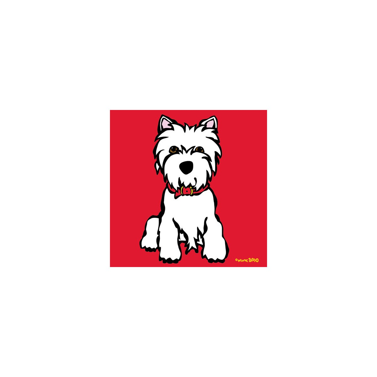 Westie On Red Print By Marc Tetro