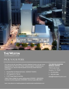 Westin Houston Pick Your Perk Event Rewards Program