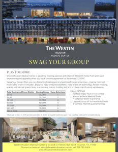 Earn Rewards for booking a room block or group of rooms in Houston hotel Westin Houston Medical Center