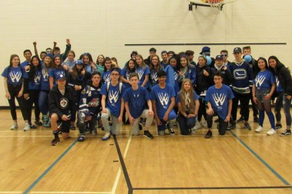 Grade 9 wearing blue on colour day.