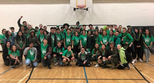 Grade 10 wearing green on colour day.