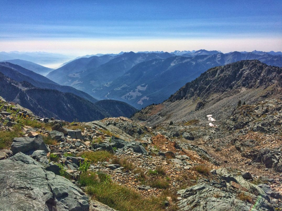 Looking back at Kootenay Lake and Kokanee Glacier