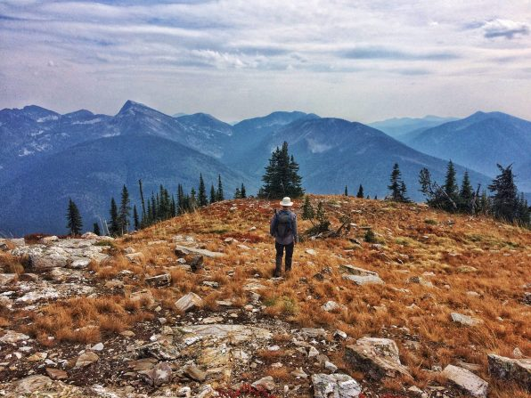 Walking down the ridge