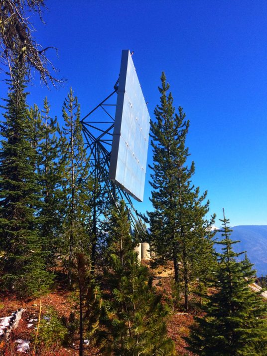 The reflector, a little further down the slope