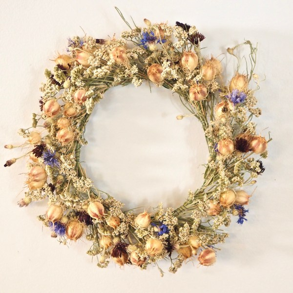 Dried Wreath Nigella and Centaurea