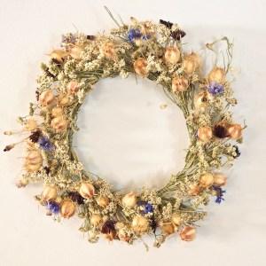 Dried Wreath Nigella and Centaurea