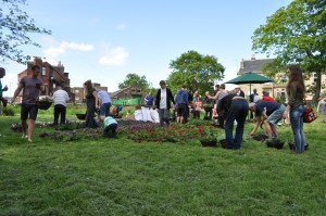 Hanging basket making with Arnmley Common Right Trust back in 2013