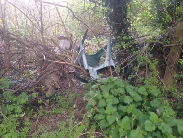 Garden chairs dumped off Gamble Lane, Farnley