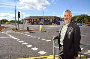 Pudsey Cllr Richard Lewis at the Thornbury Barracks junction improvements