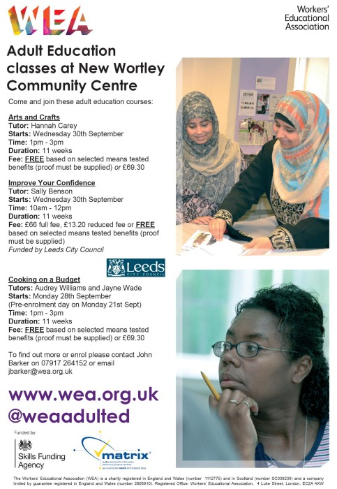 Adult education: New term, new courses at New Wortley - West Leeds Dispatch