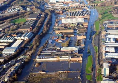 Aerial view of the floods along Kirkstall Road, Leeds