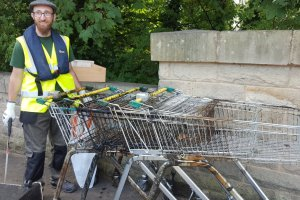 dumped shopping trolleys river aire