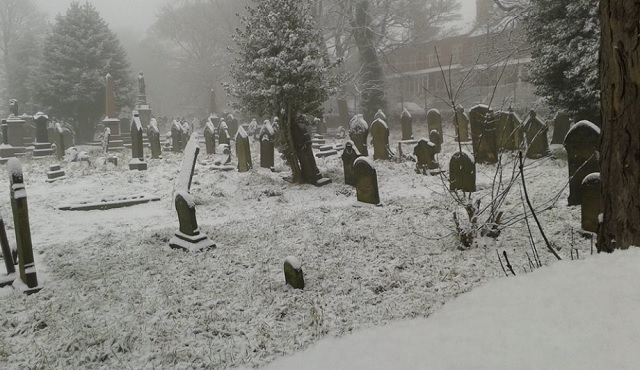 Picture perfect: Snowy Bramley Baptist Churchyard today