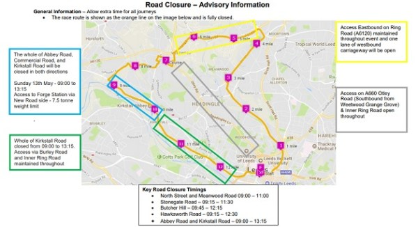 Leeds half marathon road closures diversions 2018