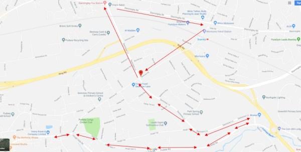 swinnow road closure buses