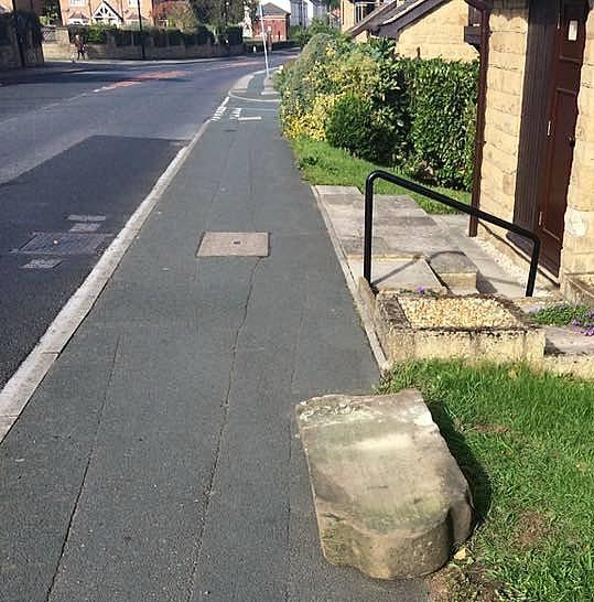 Rodley boundary stone damaged